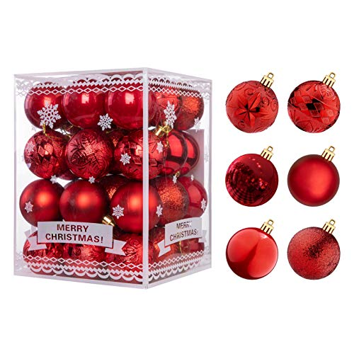 WBHome 36ct Christmas Ball Ornaments Set 1.57 inches / 40mm - RED, 2020, Shatterproof Decorations Christmas Tree Ornaments, Hooks Included