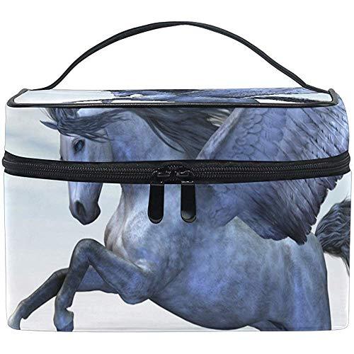 Pegasus Unciorn Silver Cosmetic Bag Travel Makeup Train Cases Storage Organizer