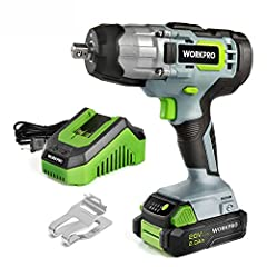 Compact and Powerful: With powerful motor, this 20V impact wrench delivers 320ft pounds of max torque and max 3200rpm speed, allows you to tighten or loosen various nuts and bolts easily. Max no load speed is 2100 rpm for driving large fasteners quic...