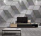 Tapete 3D Nordic Grau Geometrisch Modern Wohnzimmer Schlafzimmer Großes Wandbild Wanddekoration-200cmx140cm Fototapete - Vlies - Wandsticker - Plakatdekoration