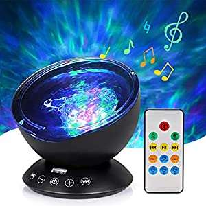 Ocean Wave Projector Lamp Night Light with Remote Control Music Speaker for Bedroom Living Room