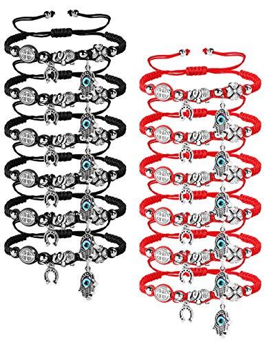 LOYALLOOK 12pcs Braided Kabbalah Bracelets Red/Black String Handmade Good Luck Friendship Bracelet Rotating Evil Eye Hamsa Hand Protection Bracelets for Women Men