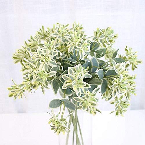 Htmeing Künstliche Grün Pflanzen Weißrand-Wolfsmilch pursh Zweige Real Touch Blätter 6pcs