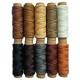 Cordón de hilo encerado 150D para costura de piel, 10 colores, para proyectos de manualidades de piel, 150 D, 0,8 mm de diámetro, 330 yardas