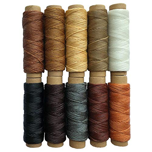 Vanboon 10 Colors 150D Leather Waxed Thread Sewing Stitching String Cord for Leather Craft DIY Projects – 150D, 0.8mm Diameter, 330 Yards