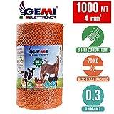 Fil de cloture electrique 1000 Mt - 4 mm² Gemi Elettronica - moutons, porcs, bovins,...
