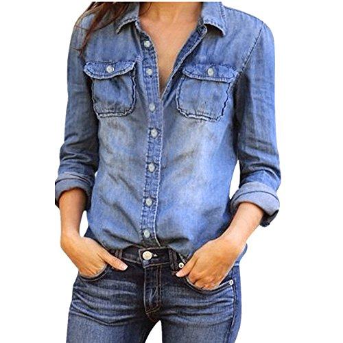 Damen Beiläufig Blau Denim Lange Ärmel Abdrehen Halsband Tasten Tasche Hemden Oberteile Bluse Frühling Sommer Dünn Jacke Einfarbig Jeanshemden (Blau, XXXL)