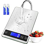 #LightningDeal [Updated 2021 Version] Digital Food Kitchen Scale, 22lb Weight Multifunction Scale Measures in Grams and Ounces for Cooking Baking, 1g/0.1oz Precise Graduation, Stainless Steel and Tempered Glass