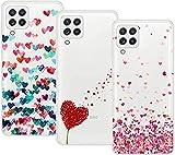 Young & Ming Compatible con Funda Samsung Galaxy A22 4G[no para 5G], 3 Pack Transparente TPU Carcasa Delgado Anti-Choques con Dibujo de Corazón