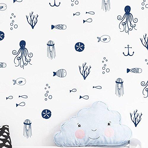 50 Unds pegatinas mix de 5 modelos vinilo pared o cristal marineros azules mamparas azulejos baño, terrazas, caravanas, habitaciones de CHIPYHOME