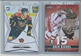 CONNOR MCDAVID & JACK EICHEL 2 CARD ROOKIE LOT 2015 LEAF MINT RC. rookie card picture