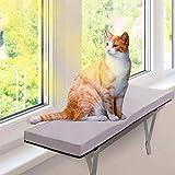 Masthome 猫窓用ベッド ウインドウベッド キャットソファー ふわふわマット付き 折りたたみ可能 取り付けタイプ 窓際ペットベッド お昼寝 日光浴 通気 ストレス解消