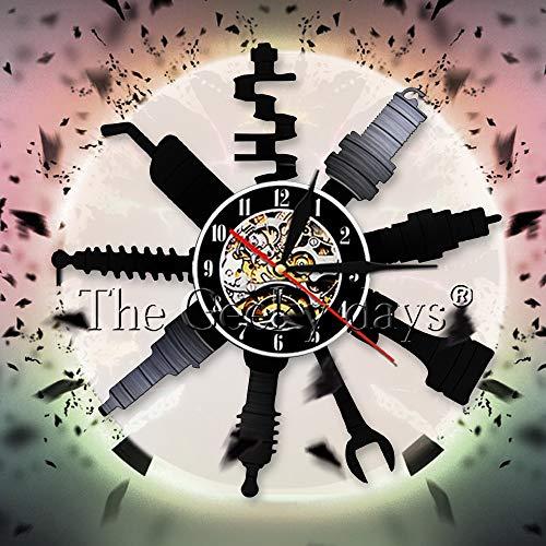 UIOLK Creatividad Retro Taller de reparación de automóviles Reloj de Pared Decorativo montado en la Pared Taller de reparación de mecánico de automóviles Disco de Vinilo Reloj de Pared reparador