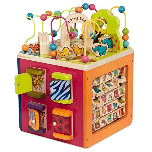 B Toys – Zany Zoo Wooden Activity Cube – Toddler Activity Center for...