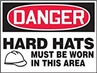 "Accuform MPPE173VP Plastic Safety BIGSign, Legend""DANGER HARD HATS MUST BE WORN IN THIS AREA"" with Graphic, 24"" Length x 36"" Width x 0.055"" Thickness, Red/Black on White"