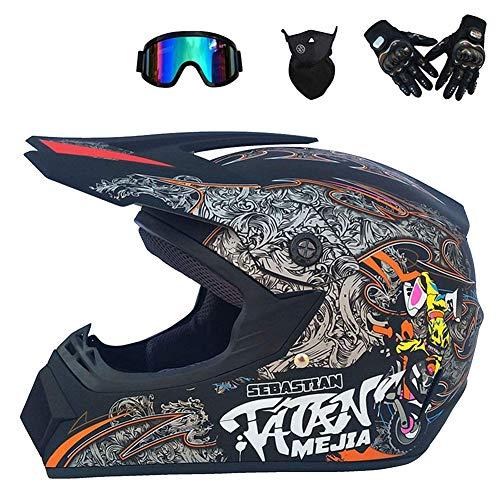 ZXDHELMET Doppel Sport Motocross Helm MX Motorradhelm ATV Roller Downhill Schutzhelm DOT zertifizierter Schutzbrille Handschuhmaske,B,XL60~61cm