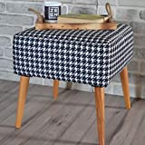Casamudo Square Ottoman Pouf Chair, Wooden Leg Ottoman Chair for Living Room, Square Foot Stool for Living Room, Modern Vanity Stool for Bedroom, White-Black