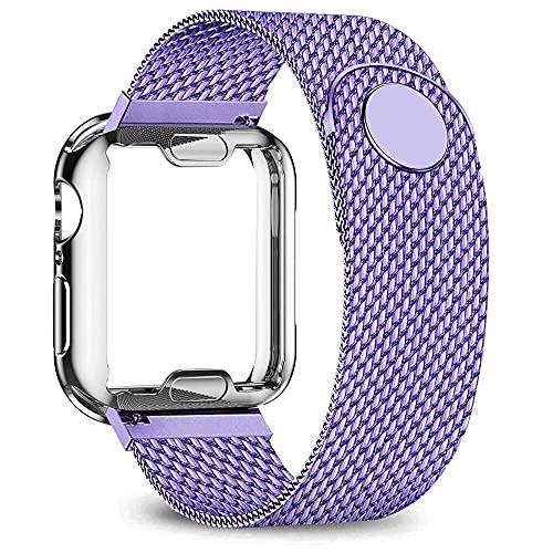Hspcam Caso+correa para Apple Watch banda 40mm 44mm 38mm 42mm plateado caso+correa de metal pulsera de acero inoxidable iWatch serie 6 5 4 3 2 se