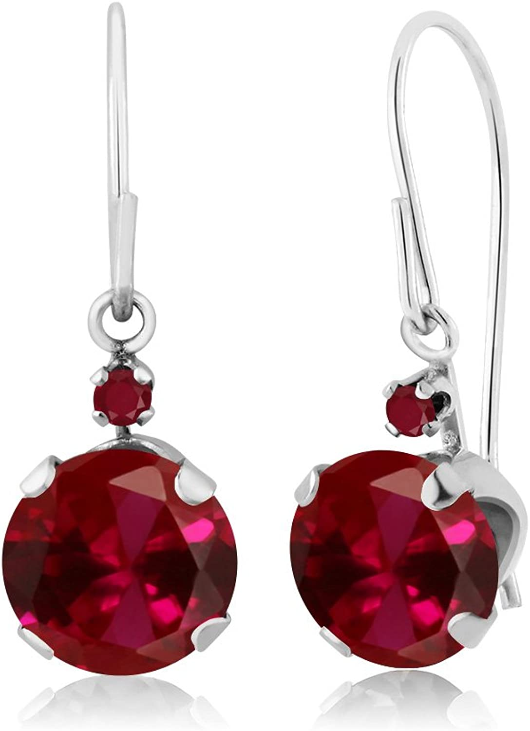 2.04 Ct Round Red Created Ruby Red Ruby 14K White gold Earrings