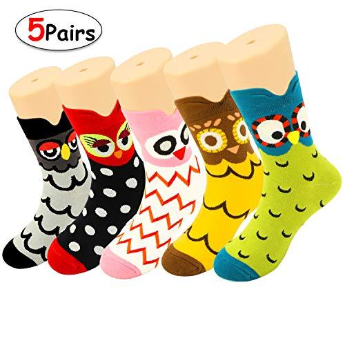 HOWAF 5 Paare Süß Tiere Baumwolle Socken für Frauen Damen Mädchen, Lustige Eule Muster Socken Neuheit Witzige Warme Socken Pack für Frauen Damen Mädchen Geburtstag Winter Weihnachten Neujahr Geschenk