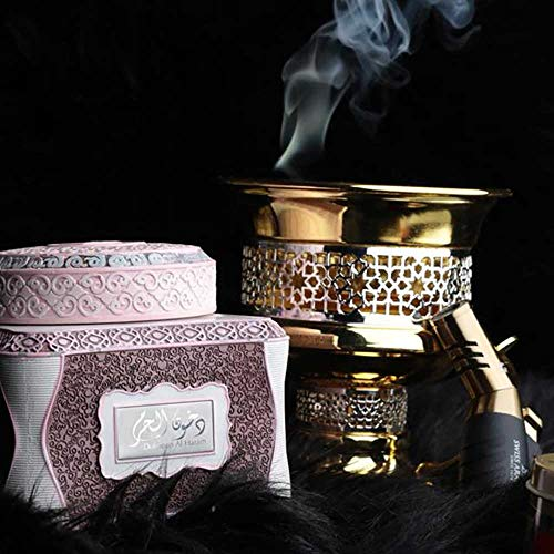 Bakhoor Dukhoon Al Haram with a Box of Premium Smolkeless Charcoal Briquettes for an Authentic Arabian Incense Burning Experience.