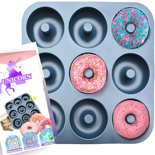Large Non-Stick 100% LFGB Grade Silicone Donut Pan, Makes 9 Full Size Donuts, BPA Free, Oven, Dishwasher and Freezer Safe Donut Mold by Unicorn Glitter LLC