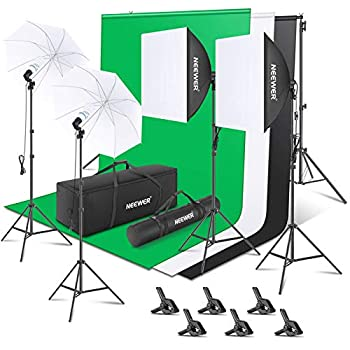 Neewer [Basic Version] Photography Backdrop Lighting Kit  2.6Mx3M/8.5ftx10ft Background Support System 800W 5500K Umbrellas Softbox Continuous Lighting for Portrait and Video Shoot Photography