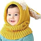 Tisi Baby Boys & Girls Warm Knit Cute Dog Hat & Scarf Set Niño Invierno Crochet Beanie Cap-Invierno Modelos Chal Bebé Sombrero de una sola pieza Sombrero de lana para bebé (Amarillo)