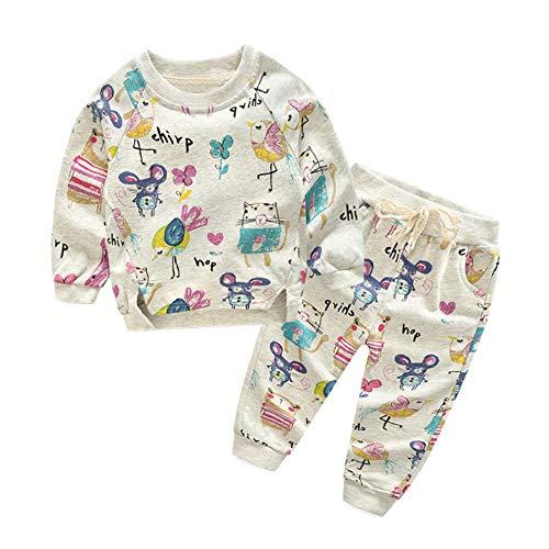 BOBORA Ensemble Bébé Filles Garçons, Enfants Sweat-Shirt à Manches Longues et Pantalons Fleurs d'animaux Automne Hiver Vêtements de Sport