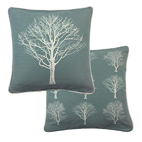 2 X Forest Trees Duck Egg Blue White 100% Cotton Piped Cushion Cover 17' - 43CM