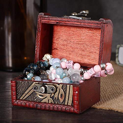 Joyero de madera antiguo a prueba de polvo, una hermosa decoración para escritorio en casa y mesa de oficina(Narcissus)