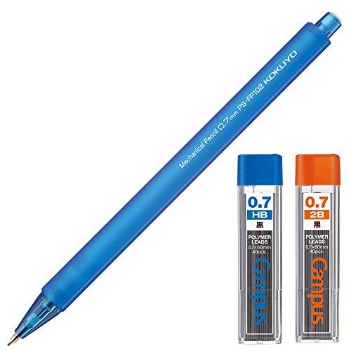 コクヨ シャープペン 鉛筆シャープ 0.7mm HB・2B替芯付セット フローズン ブルー