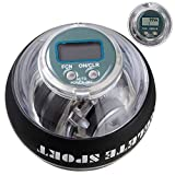 ACELETE Auto-Start 2.0 Power Ball with Digital LCD Counter Wrist Trainer Ball Forearm Exerciser Wrist Strengthener Workout Toy Spinner Gyro Ball with LED Lights (Transparent with Count)
