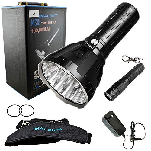 IMALENT MS18 Flashlight LED Rechargeable Bright Light with 100,000 Lumens - Case has a Strap, Charger, & O-Rings - Bundle includes a Lumintrail LTK-10 Keychain Light
