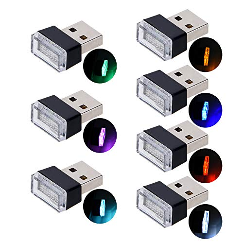 USB Car Interior Ambient Atmosphere Lights, Febrytold 7 Pcs Universal Mini Led USB Lights for Car Interior Trunk Ambient Atmosphere (Blue White Yellow Red Green Pink-purple Ice-blue)