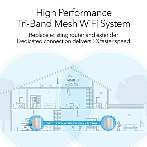 NETGEAR Orbi Tri-band Whole Home Mesh WiFi System with 3Gbps Speed (RBK50) – Router