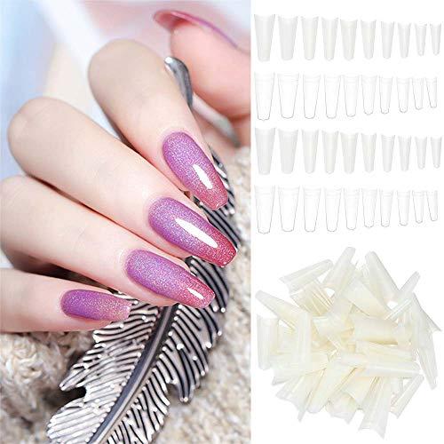 Paquete de 100 uñas postizas acrílicas falsas para uñas postizas profesionales de ABS, media cubierta, puntas de manicura, bailarina, ataúd