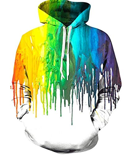 Younger Boys Girls Pullover Hoodies 3D Paint Graphic Printed Sweathshirt with Drawstring Long Sleeve Funny Winter Hooded Jacket Tops for Outwear Sport S