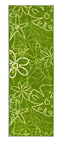 Küchenläufer in Grün, pflegeleichter & robuster Läufer mit Blumenmuster, schadstoffgeprüfter Teppichläufer, Farbe:Grün;Größe:67x200cm
