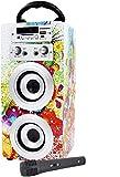 DYNASONIC - Altavoz Bluetooth Portatil Karaoke con Micrfonos Incluidos   Lector USB y SD, Radio FM Modelo 025 (Modelo 1)