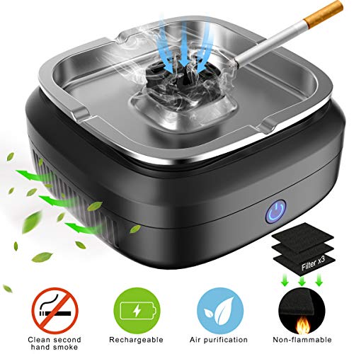 FORTGESCHE Smokeless Ashtray for Cigarette Desktop Smoking Ash Tray for Home Office Decoration to...