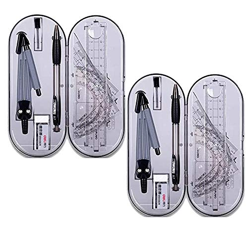 Rocutus Math Geometry Kit Set,Drawing Compass Protractor and Compass Set, with Shatterproof Storage Box,Including Protractor, Rulers, Compass, Compass Lead, Mechanical Pencil and Erasers (16 Pieces)