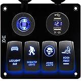 Fxc 6bandas interruptor basculante Panel con voltímetro digital + 12V enchufe + doble USB cargador adaptador LED azul impermeable Luz de fondo para coche TRAILER MARINE barco ¡, Blue-4 Gang