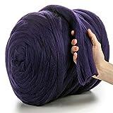 MeriWoolArt - Lana de merino 100 % para punto y ganchillo con hilo de 4-5 cm de grosor, lana de merino gruesa para bufanda, manta y cojín XXL, oscuro morado, 4,5Kg Rolle