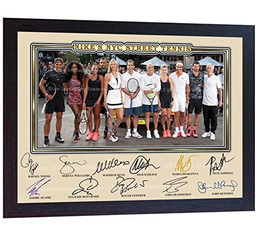 SGH SERVICES Gerahmtes Poster Roger Federer Agassi Nadal Sampras McEnroe Williams Sharapova Keys Signiertes Foto gerahmt signiert Tennis Foto Vordruck Poster gerahmt MDF-Rahmen