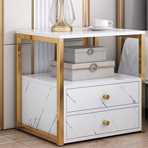 Table de table de table en marbre en fausse chambre moderne, armoires de chevet moderne, cadre en métal supérieur et doré, table à côtés de lit avec deux tiroirs, pour salon ( Couleur : Blanc )