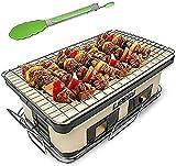 TANKKWEQ Parrilla japonesa para barbacoa de mesa, estufa de carbón portátil con rejilla de malla de alambre y clip para Yakiniku, Takoyaki y barbacoa