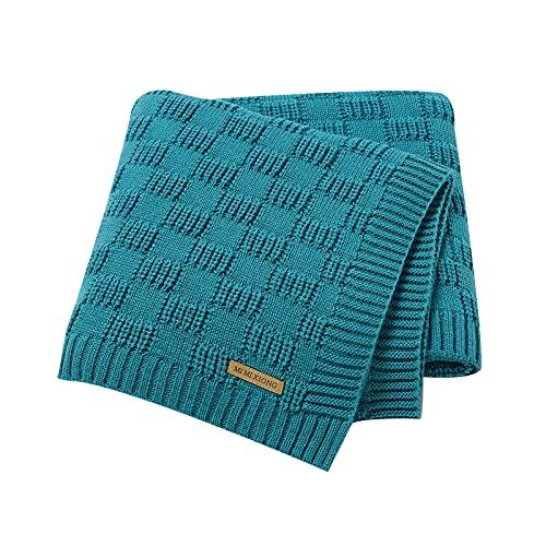 Rehomy Cover Blanket, Baby Stroller Knitted Cover Blanket, Blue Green