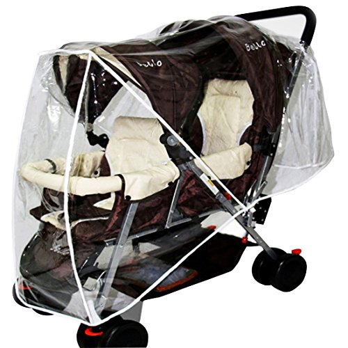 Freahap Stoller Rain Cover Double Pushchair Buggy Wind Cover Tandem Universal