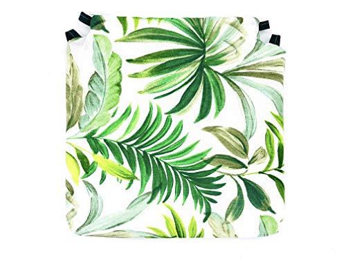 Tienda Eurasia - Pack de 4 Cojines para Sillas, Estampado Tropical Green, con 2 Correas de Sujeción. Apto para Interior - Exterior. Medidas 40x40cm